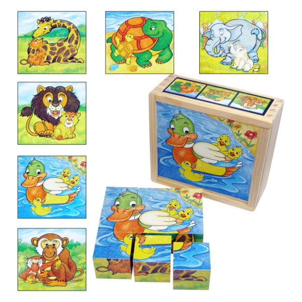Puzzle cuburi animale si puiutii lor-0