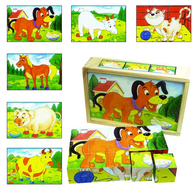 Puzzle cuburi animale domestice-0