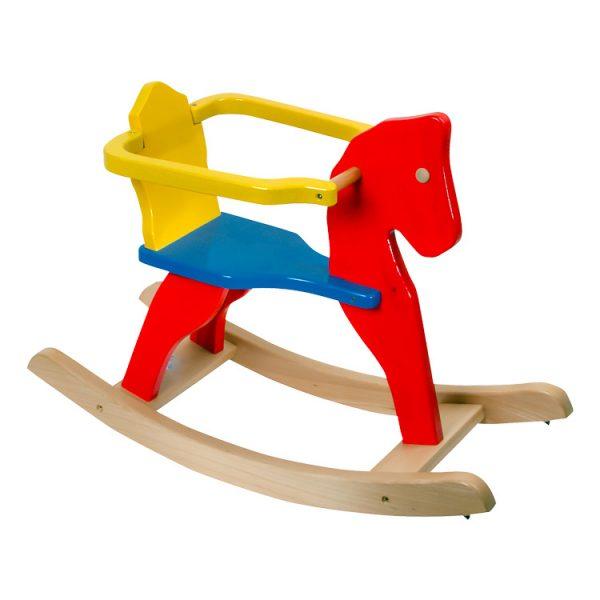 Căluţ / balansoar din lemn cu cadru colorat -0