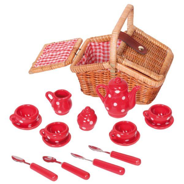 Mini set picnic 17 piese portelan rosu-0