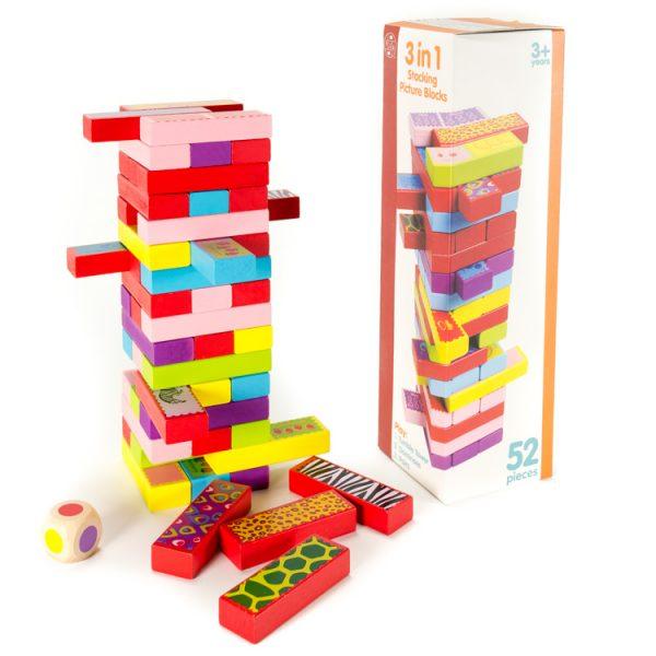 Set constructie, 3 in 1 (Jenga, Domino, Memorie) -0