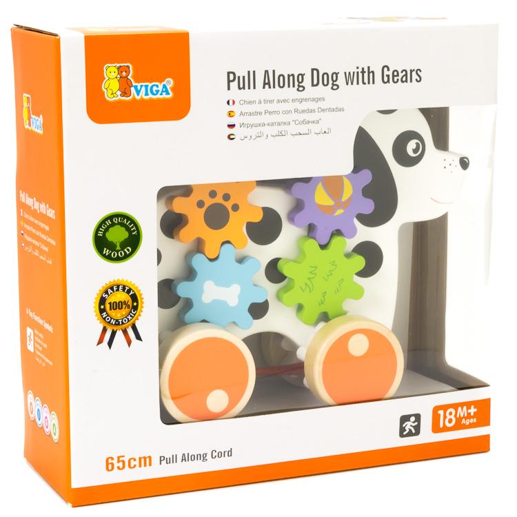 Trage jucăria – câine cu roti dinţate-0