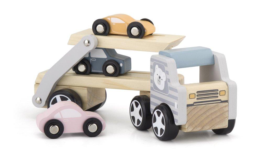 Transportator auto de 3 masini din lemn-5468