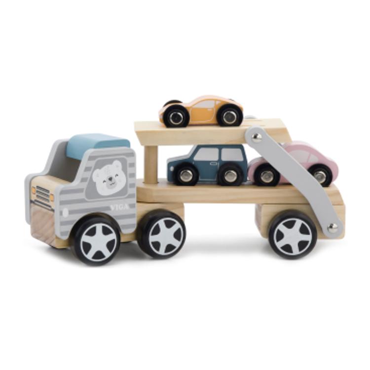 Transportator auto de 3 masini din lemn-0