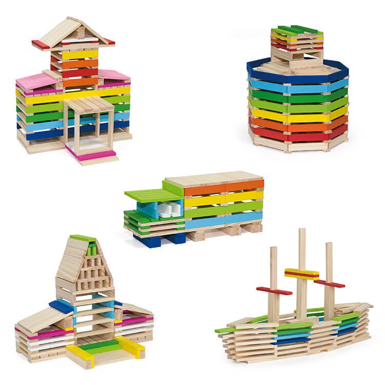 Set Bloc constructie lemn 250 piese -5478